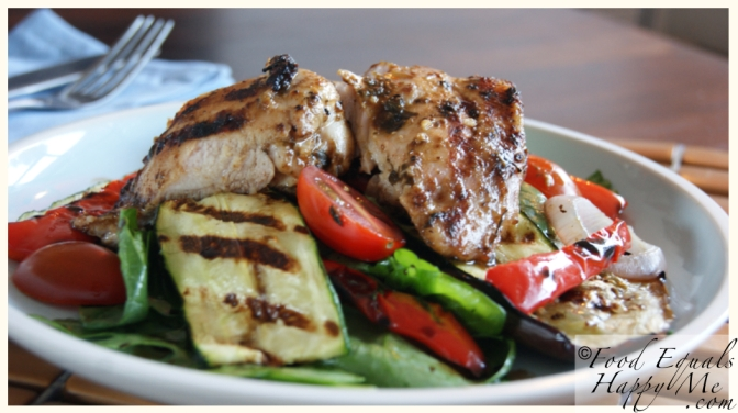 chargrilled vegetable salad with chicken