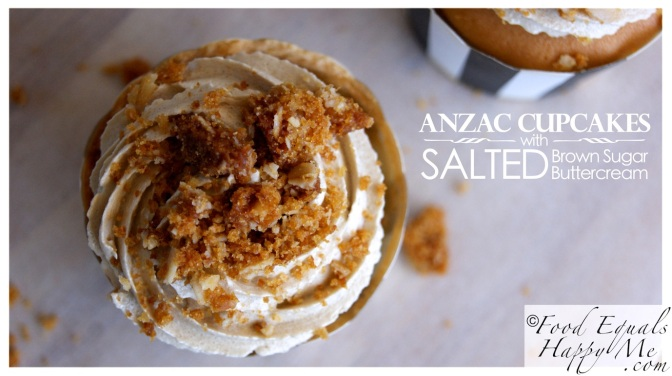 Anzac Cupcakes with Salted Brown Sugar Buttercream