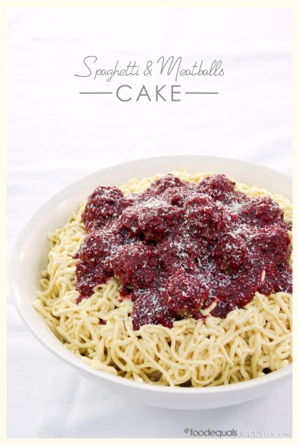 Spaghetti & Meatballs Cake | Food Equals Happy Me