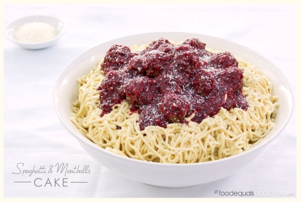 Spaghetti and Meatballs Cake
