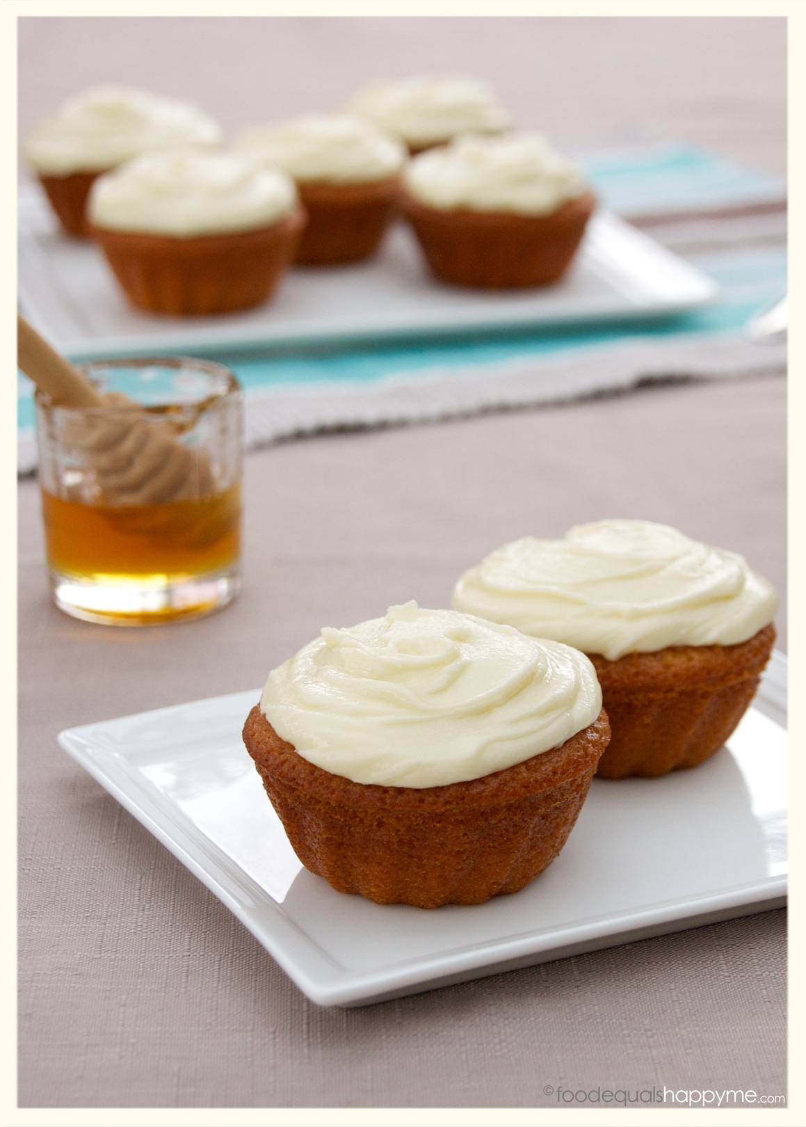 Honey Cakes with Honey Cream Cheese Frosting | Food Equals Happy Me