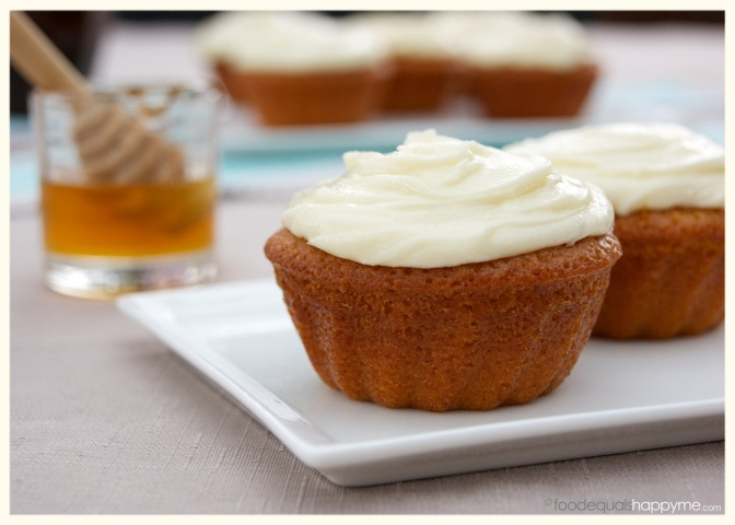 Honey Cakes with Honey Cream Cheese Frosting   Food Equals Happy Me