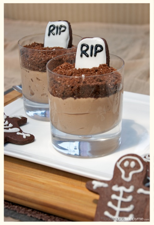 halloween choc-hazelnut mousse with chocolate dirt graveyards