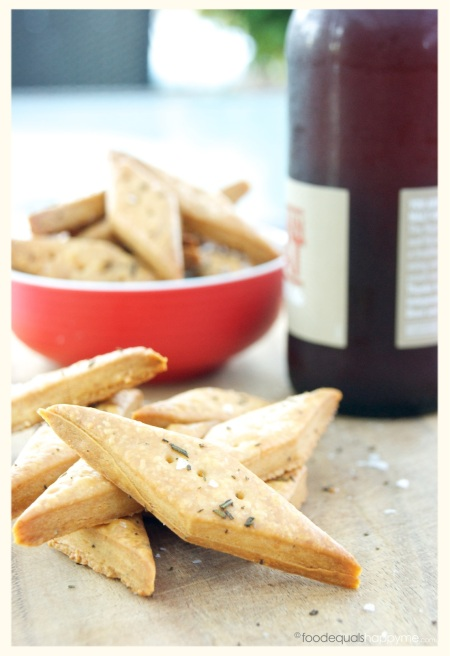 homemade cheese crackers with rosemary & sea salt