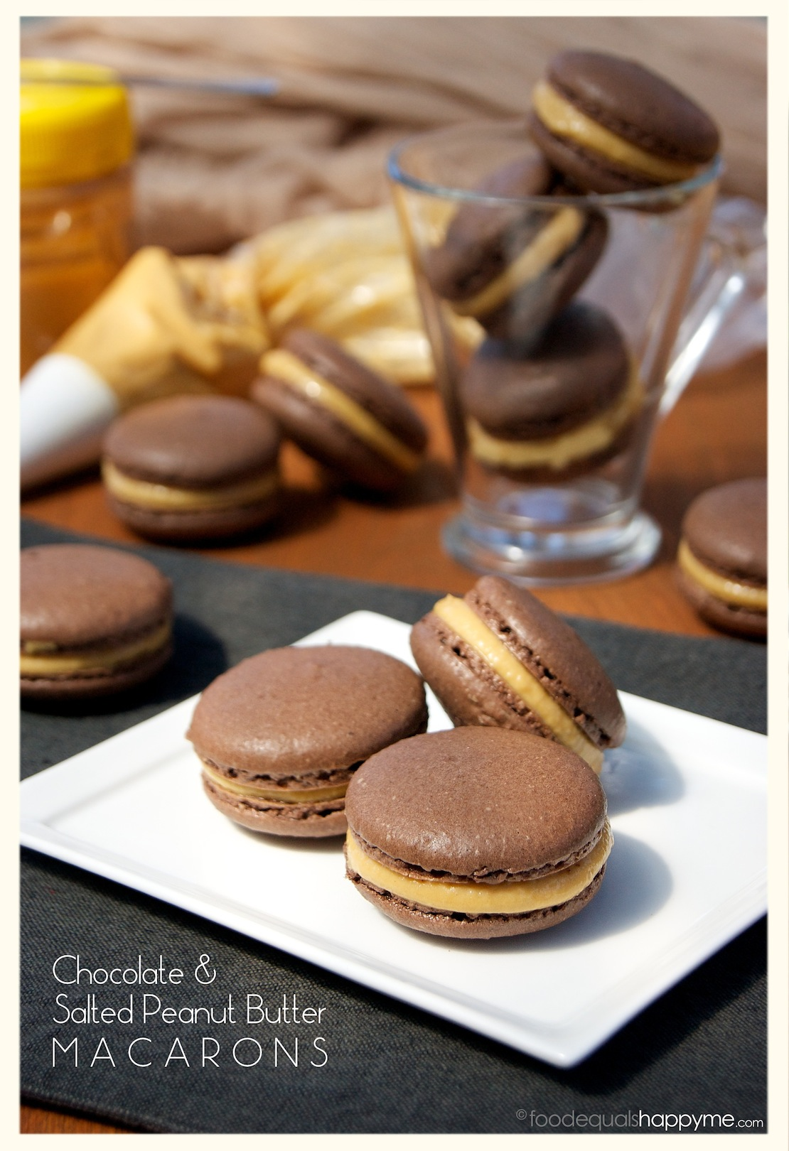 chocolate salted peanut butter macarons food equals happy me. Black Bedroom Furniture Sets. Home Design Ideas