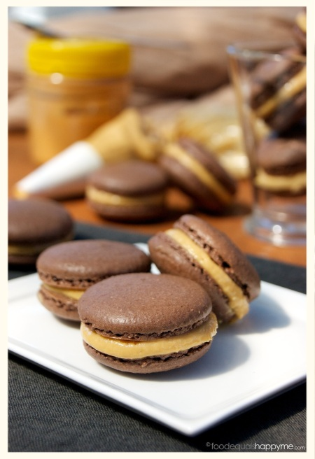 Chocolate & Salted Peanut Butter Macarons