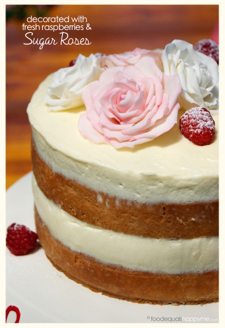 Sponge Cake with Raspberries and Sugar Paste Roses