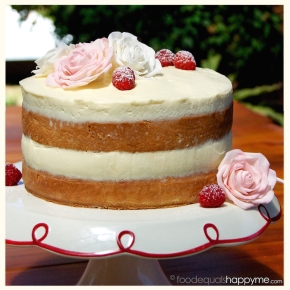 Sponge Cake with raspberries mascarpone cream and sugar flowers