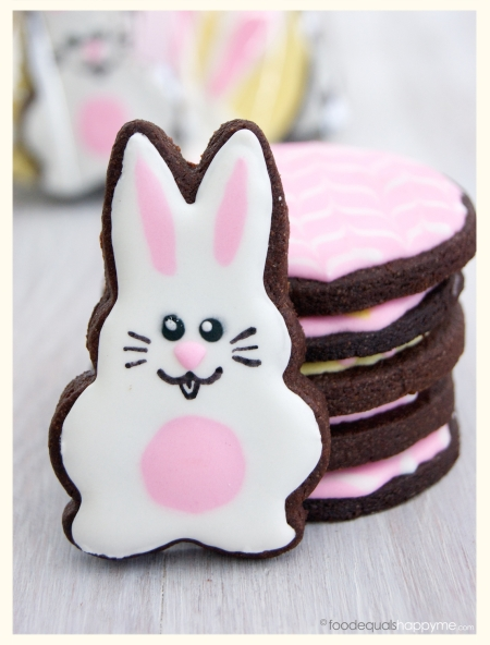Chocolate Easter Bunny decorated sugar cookies