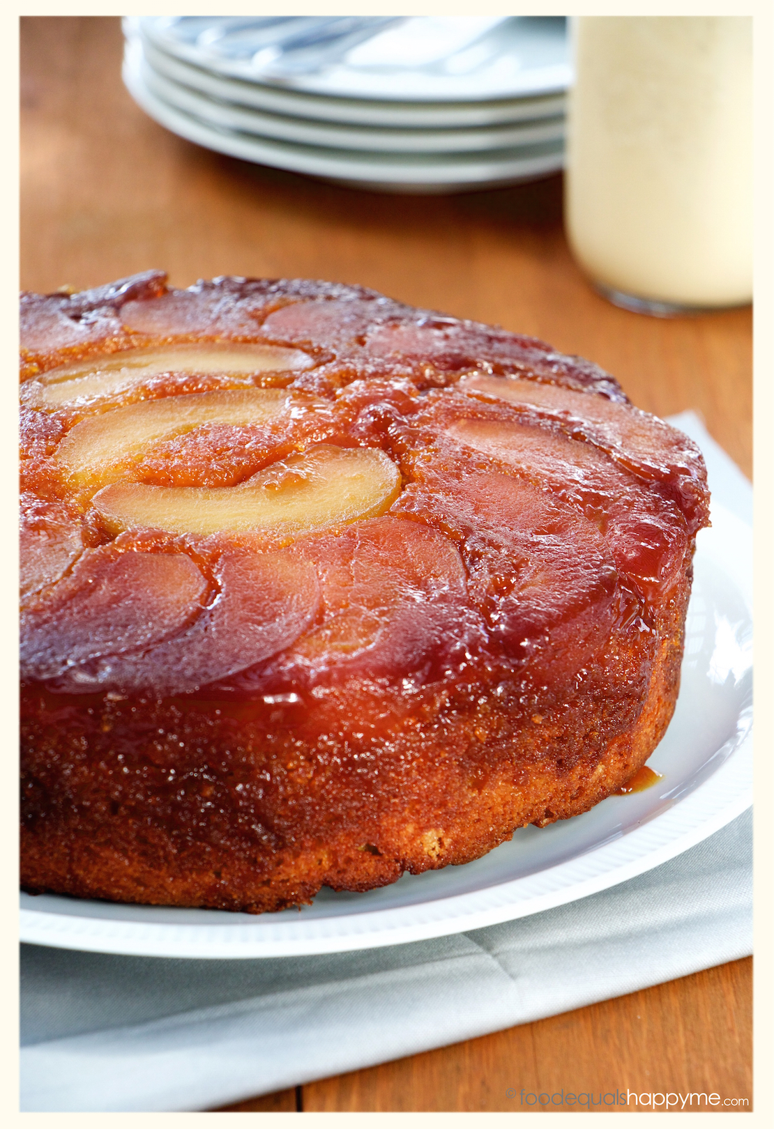 Caramel Apple Upside Down Cake With Creme Anglaise Food