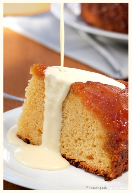 Caramel Apple Upside Down Cake with Creme Anglaise
