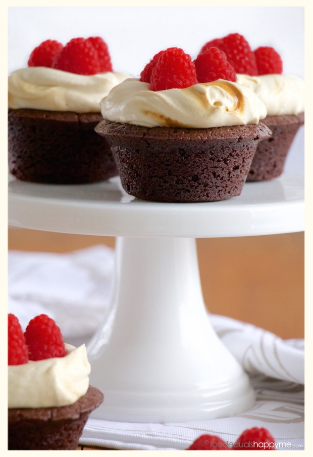 Flourless Chocolate Cake with Coffee Cream and Raspberries